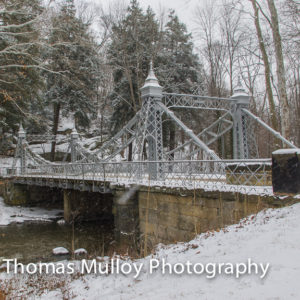 Built in 1895, the silver suspension bridge in Youngstown's Mill Creek Park is a winter wonder.